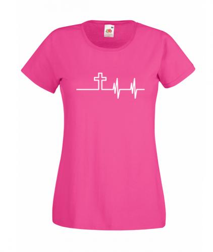 ladies fitted dark pink heartbeat
